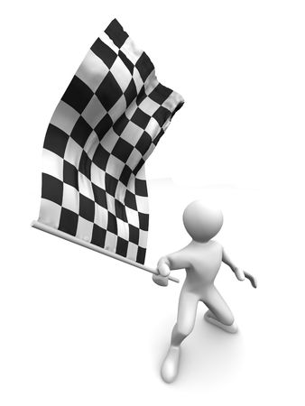 finishing line: Men with checkered flag. 3d Stock Photo