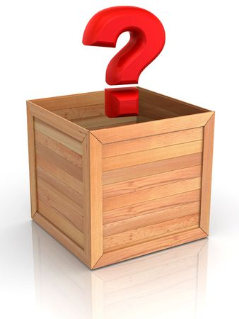 moving crate: Crate with question. 3d