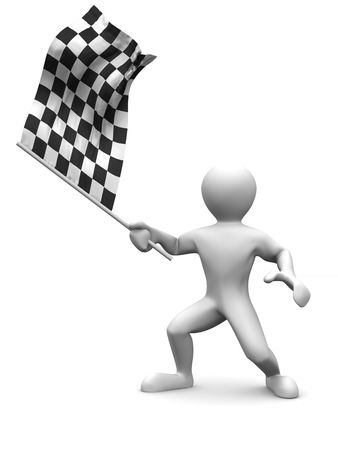 the end: Men with checkered flag. 3d Stock Photo