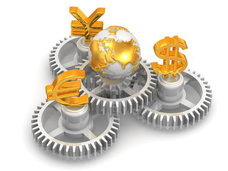 dealing: World currency. 3d