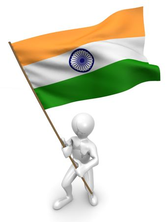 india 3d: Men with flag. India. 3d