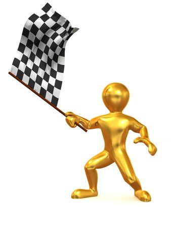 schwarz weiss kariert: M�nner mit Zielflagge. 3D  Lizenzfreie Bilder