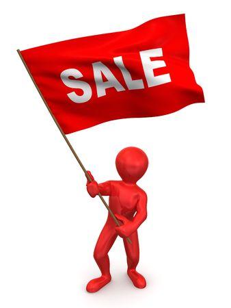 resale: Men with flag sale. 3d