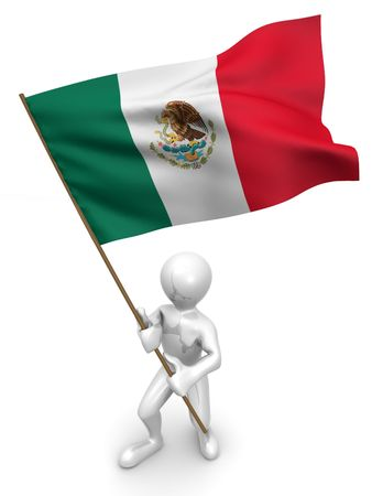Men with flag. Mexico. 3d Фото со стока