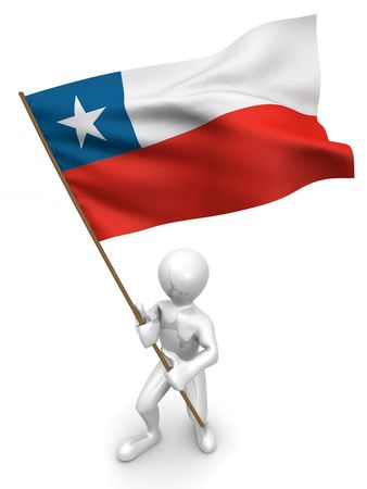 Men with flag. Chile. 3d photo