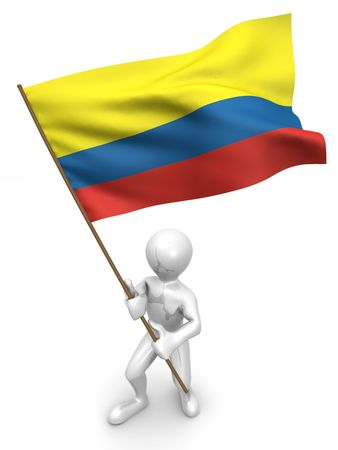 staten: Men with flag. Colombia. 3d