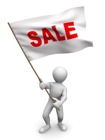 resale: Men with flag sale. 3d