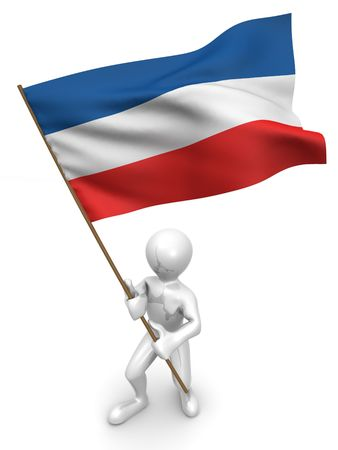 yugoslavia: Men with flag. Yugoslavia 3d