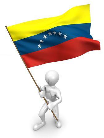 Men with flag. Venezuela 3d photo