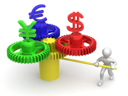 dealing: Currency exchange. 3d Stock Photo