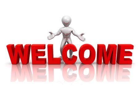 welcome sign: Men with text welcome. 3d