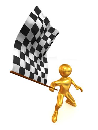 Men with checkered flag. 3d Stock Photo - 5609026