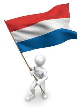 Men with flag. Netherlands. 3d Stock Photo - 5609003