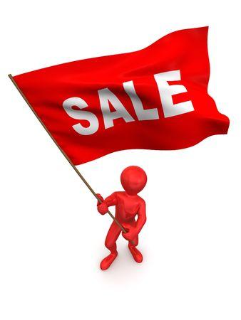 Men with flag sale. 3d photo
