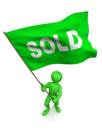 resale: Men with flag sold. 3d Stock Photo