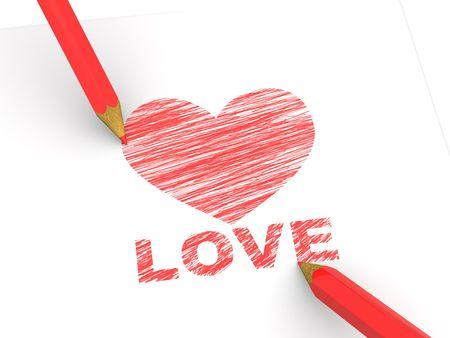 pencils depicting the heart. 3d photo
