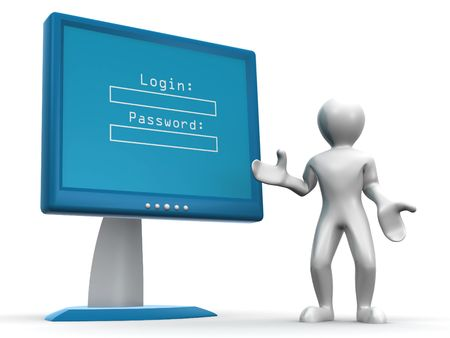 Monitor with Login and password. 3d photo