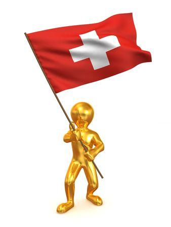 staten: Men with flag. Switzerland. 3d