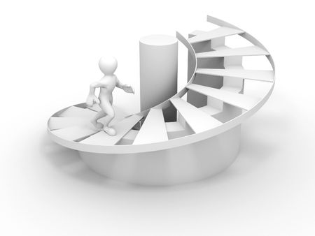 Men on stairs. 3d Success. 3d photo