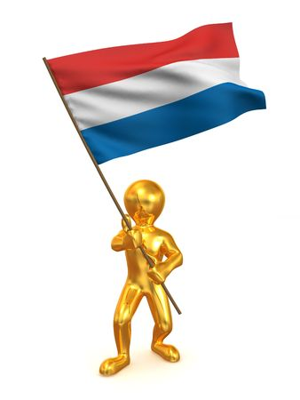 Men with flag. Netherlands. 3d Stock Photo - 5775661