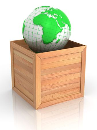 Earth in crate. 3d photo