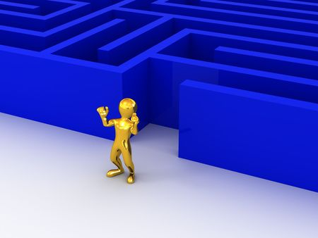 people past the maze. 3d Stock Photo - 5804298