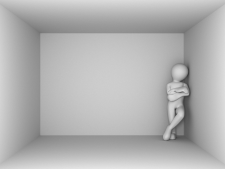 man in an empty room. 3d photo