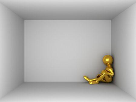 job opening: man in an empty room. 3d