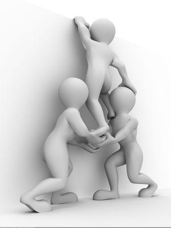 obstaculo: Abstracto de trabajo en equipo. 3D