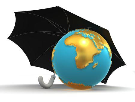 Earth with umbrella. 3d photo