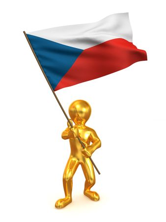 Men with flag. Czech Republic. 3d photo