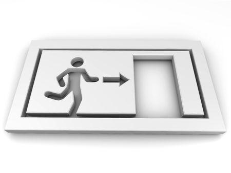 Sign exit. 3d photo