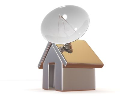 Home with satellite. 3d photo