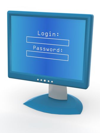Monitor with Login and password. 3d Stock Photo - 5804346