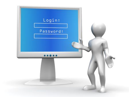 Monitor with Login and password. 3d Stock Photo - 5804278