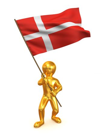 Men with flag. Denmark. 3d photo