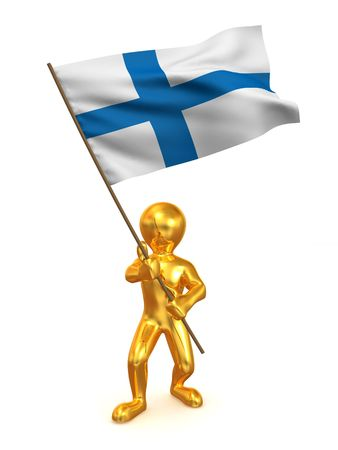 Men with flag. Finland. 3d photo