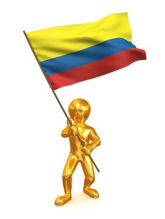 bandera de colombia: Hombres con bandera. Colombia. 3D Foto de archivo