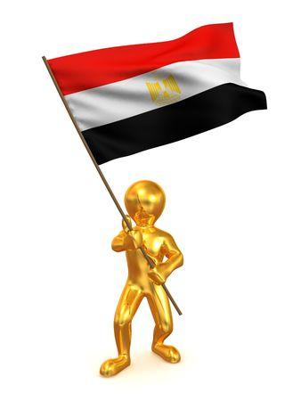 Men with flag. Egypt. 3d photo