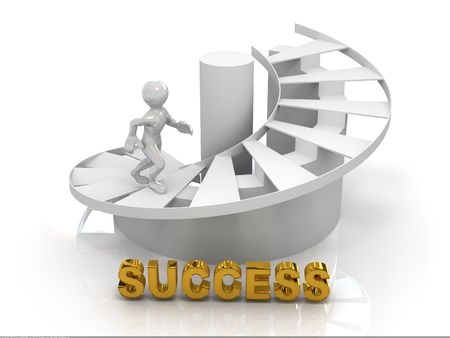 succes: Men on stairs.Success. 3d
