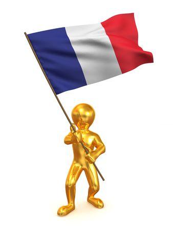 Men with flag. France. 3d photo