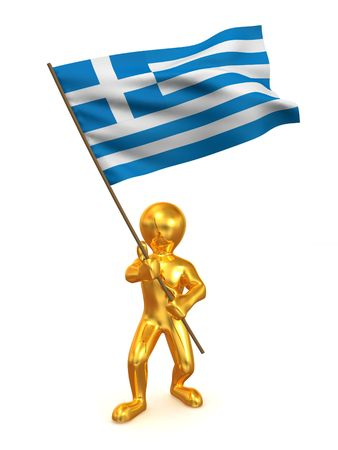 Men with flag. Greece. 3d photo