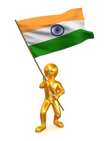 Men with flag. India. 3d photo