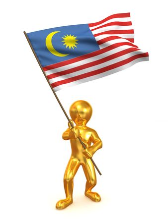 Men with flag. Malaysia. 3d photo