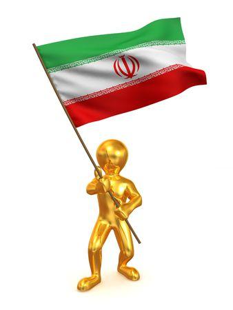 Men with flag. Iran. 3d photo