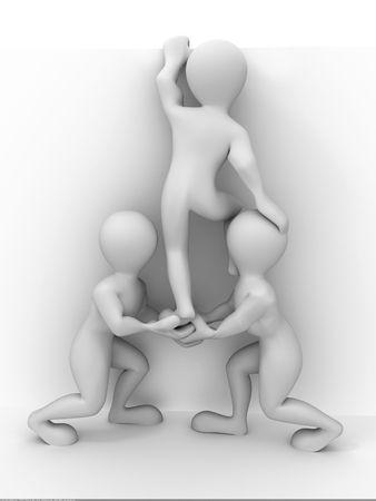 stumble: Abstract teamwork. 3d