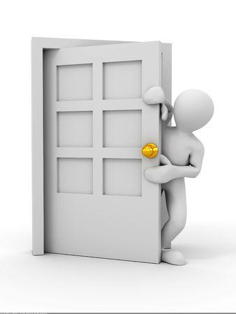 job opening: people entering the door. 3d Stock Photo