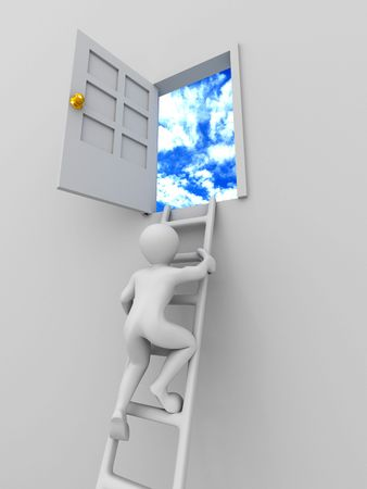 ascending: man ascending the stairs. 3d Stock Photo