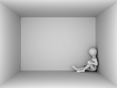 man in an empty room. 3d Stock Photo - 5804321