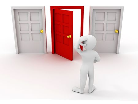 job opening: person chooses door. 3d
